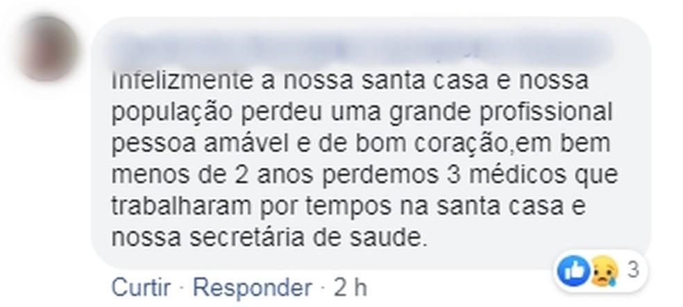 Homem faz homenagem à médica morta em capotamento em Populina  â?? Foto: Reprodução/Facebook