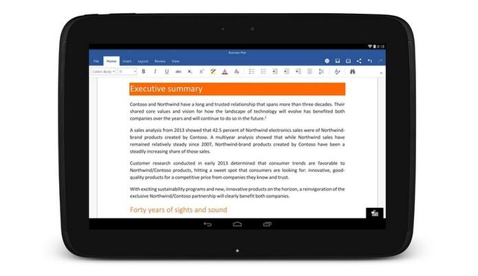 Microsoft liberou Word para tablets e smartphones Android em 2015 (Foto: Foto: Divulgação)
