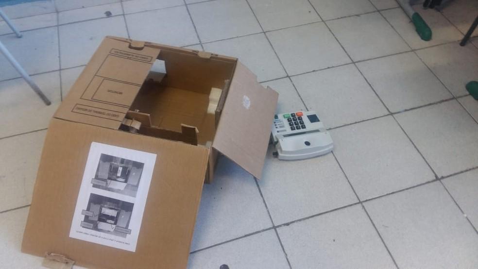 Leitor biométrico foi destruído em seção de Sorocaba — Foto: Arquivo pessoal