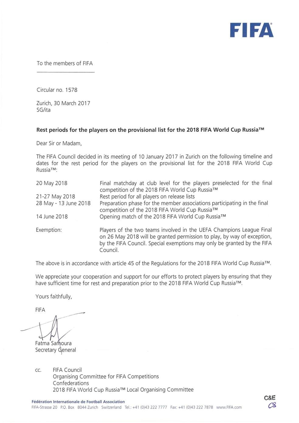 Circular da Fifa que estipula 20 de maio como data limite para pré-convocados atuarem por seus clubes (Foto: Reprodução)