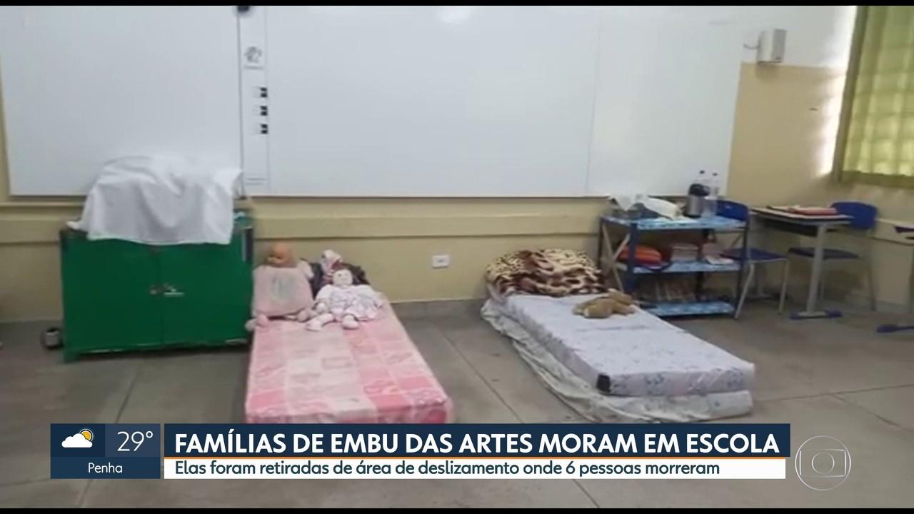 Famílias de Embu das Artes vivem de forma improvisada em escola