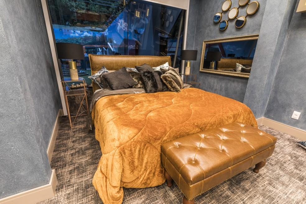 Detalhes da cama do Quarto do Líder: quero dormir aí! — Foto: Globo/Victor Pollak