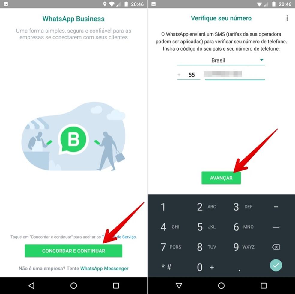 Configurando conta comercial do WhatsApp — Foto: Reprodução/Helito Beggiora