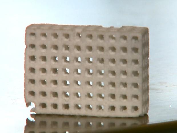 Nova peça de vidro pode ser usada em enxertos ósseos (Foto: Paulo Chiari/EPTV)