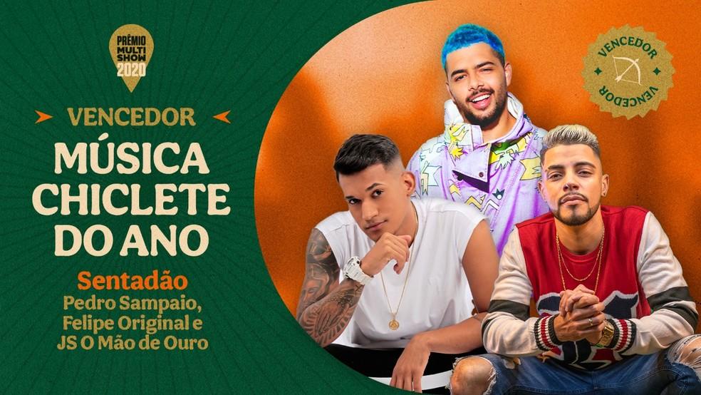 """""""Sentadão"""", de Pedro Sampaio, Thiaguinho MT e JS O Mão de Ouro, vence a categoria Música Chiclete do Ano — Foto: Divulgação Multishow"""