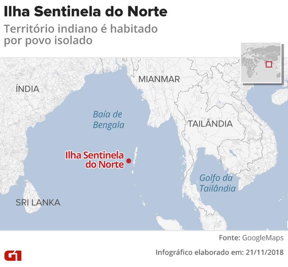Mapa mostra onde fica a Ilha Sentinela do Norte — Foto: Infografia: Rodrigo Cunha/G1