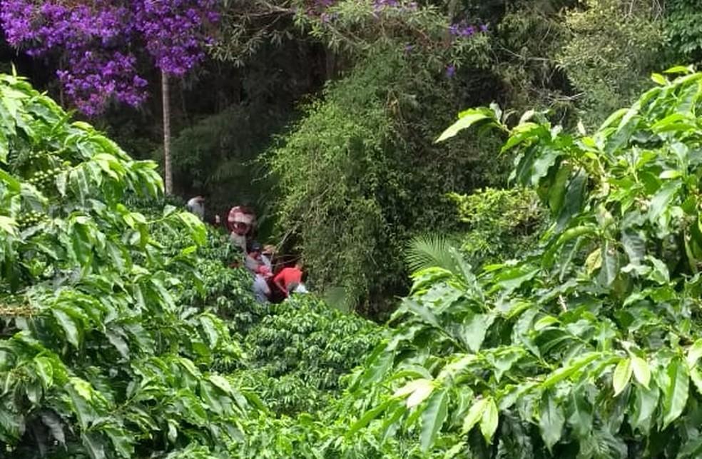 Local onde o corpo foi encontrado em Dores do Rio Preto — Foto: VC no ESTV