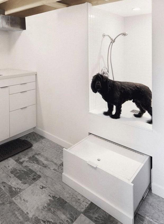 Dog shower: a gaveta móvel é uma alternativa discreta para ajudar o pet a subir  (Foto: Pinterest/Reprodução)