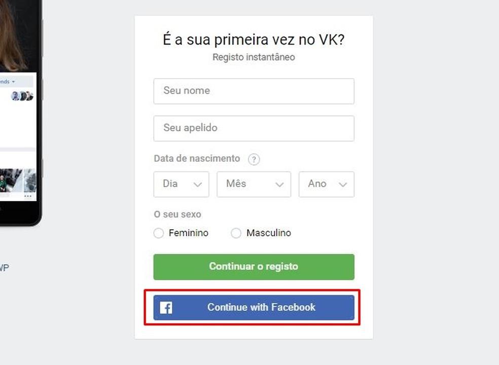 Crie a conta do VK com os dados do Facebook — Foto: Reprodução/Taysa Coelho