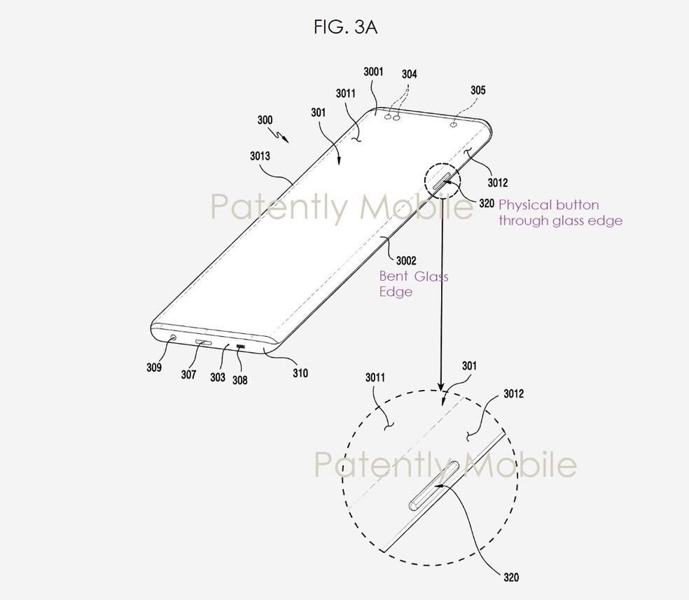 Patente revela tela em cascata e botões físicos através de recortes no painel — Foto: Reprodução/Patently Mobile