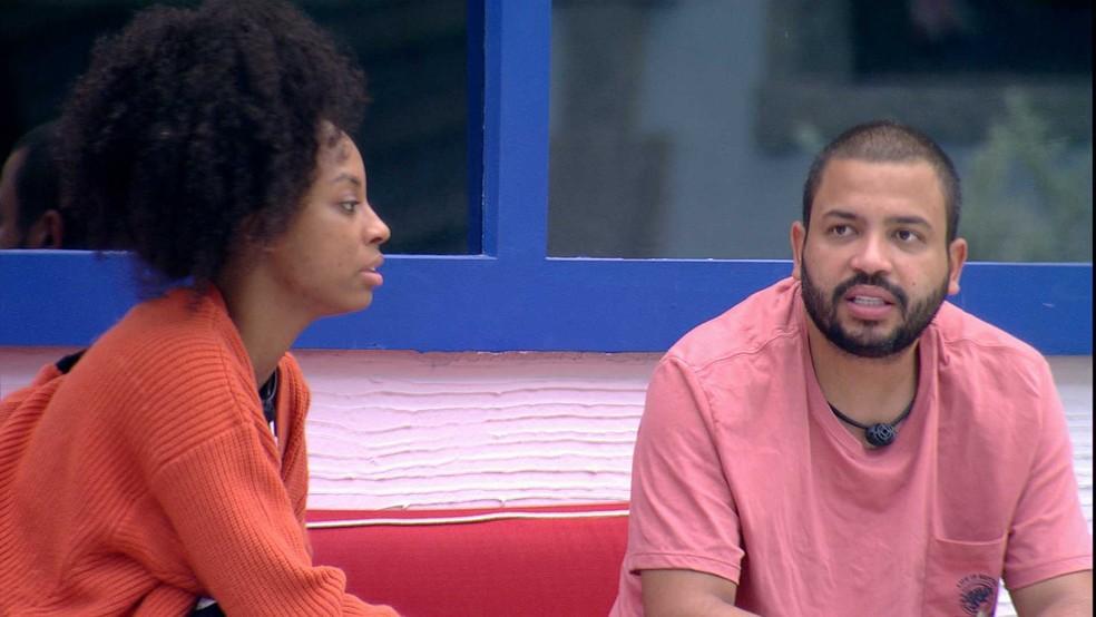 Em conversa com Lumena, Projota dispara sobre brother do BBB21: 'Eu estou me assustando' — Foto: Globo