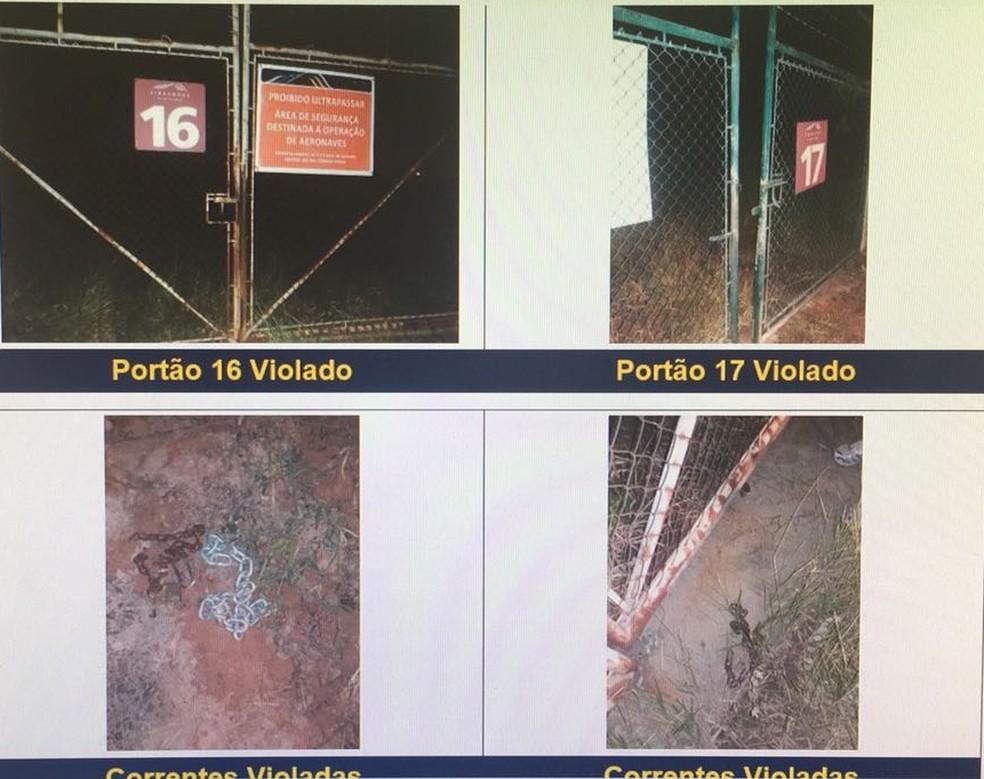 Portões foram arrombados pelo bando na entrada e saída do local (Foto: Reprodução/ Fantástico)