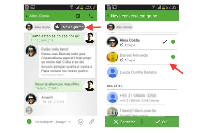 Iniciando uma conversa em grupo a partir de um chat no Hangouts para Android (Foto: Reprodução/Marvin Costa)