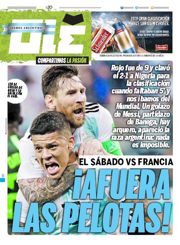capa do olé sobre classificação da argentina (Foto: Divulgação)