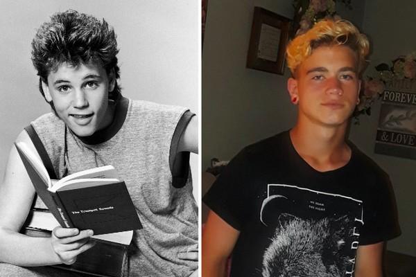 Uma foto antiga do ator Corey Haim (1971-2010) e um registro do filho dele (Foto: Getty Images/Reprodução)