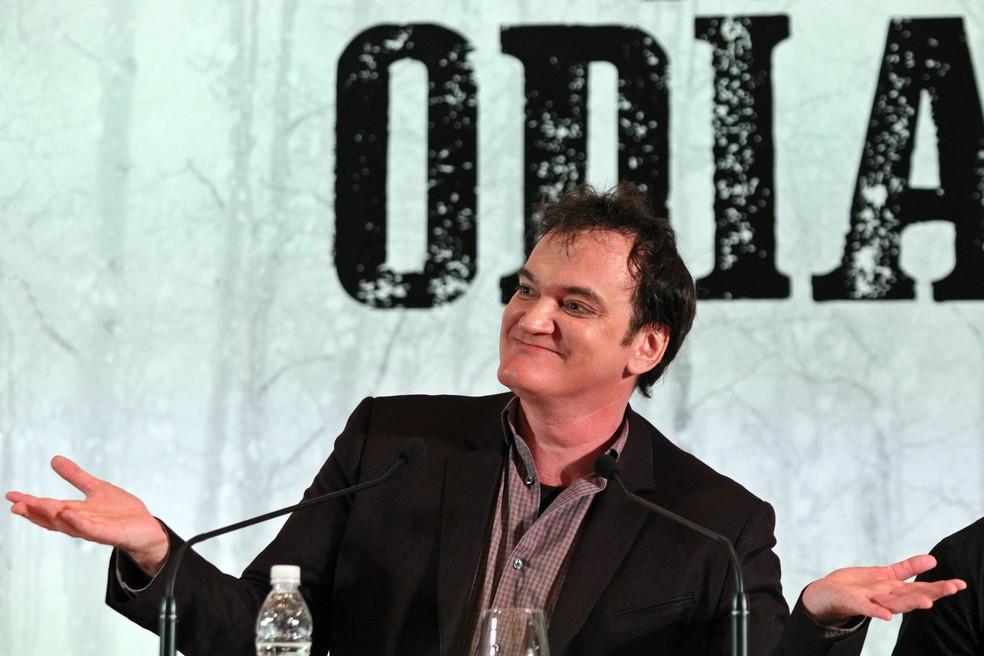 Entrevista coletiva com o diretor Quentin Tarantino para divulgar o filme 'Os Oito Odiados', com lançamento previsto para janeiro de 2016, nesta segunda-feira (23) em São Paulo (Foto: Sergio Castro/Estadão Conteúdo)