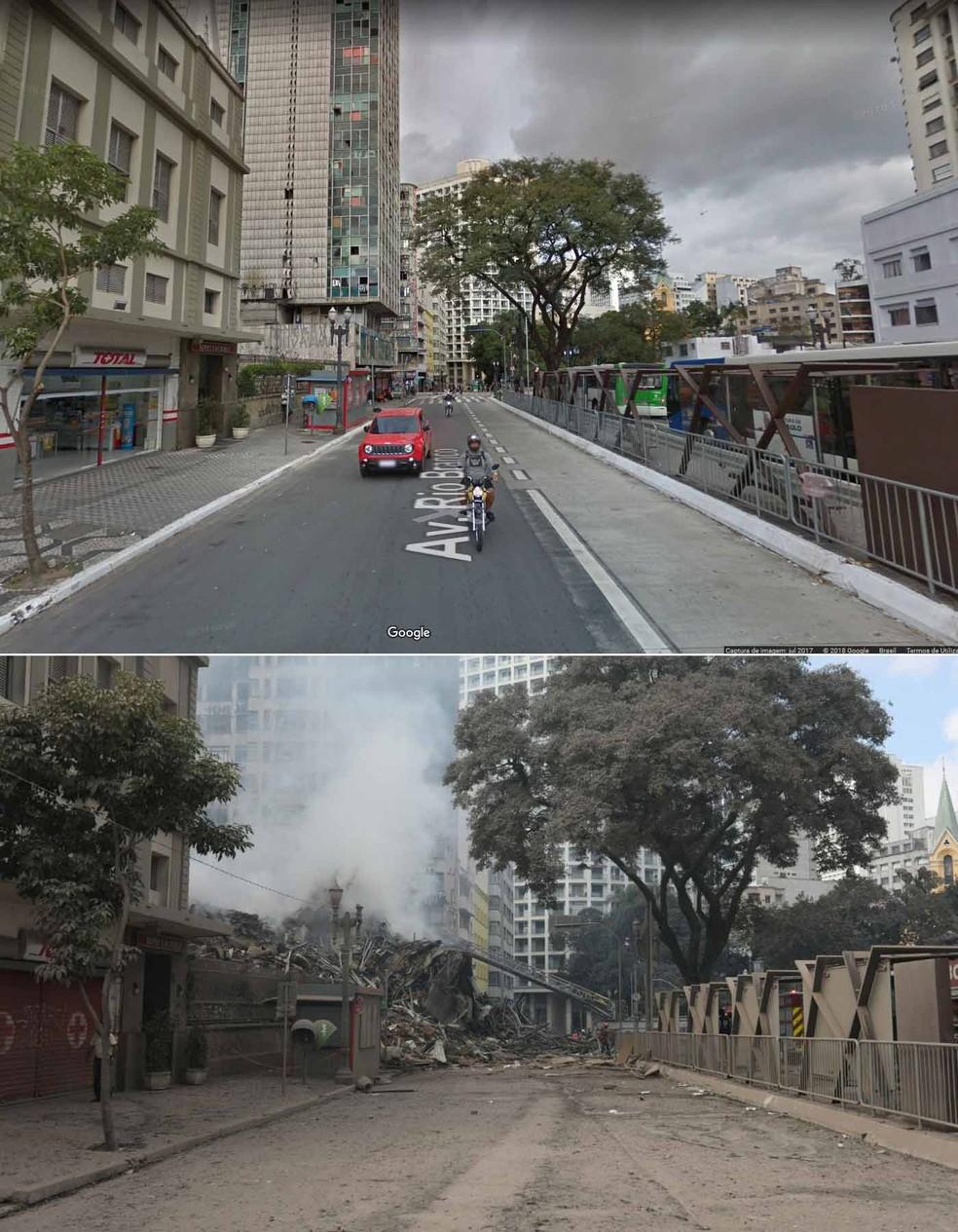 Edificio Wilton Paes de Almeida: veja como ficou a rua apos o desabamento do predio, no Centro de Sao Paulo (Foto: Reprodução/Google/Marcelo Brandt/G1)