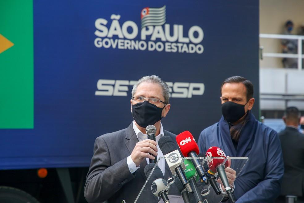 O secretário da Saúde de SP, Jean Gorinchteyn, ao lado do governador João Doria (PDB) nesta quarta-feira (14). — Foto: Divulgação/Secom/GESP