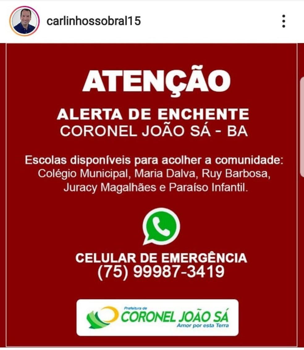 Prefeito fez alerta pelo Instagram, nesta quinta-feira (11). — Foto: Reprodução / Redes Sociais