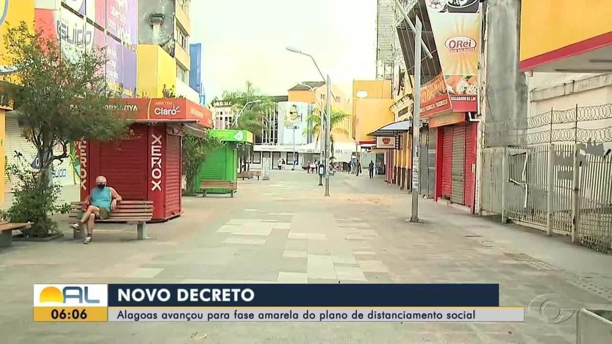 Alagoas avança para fase amarela e flexibiliza atividades do comércio e outros serviços