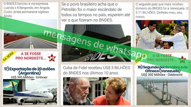 Mensagens de WhatsApp sobre o BNDES compartilhadas nas vésperas do segundo turno das eleições 2018, coletadas pelo Projeto Eleições Sem Fake (Foto: Letícia Mori/BBC News Brasil)