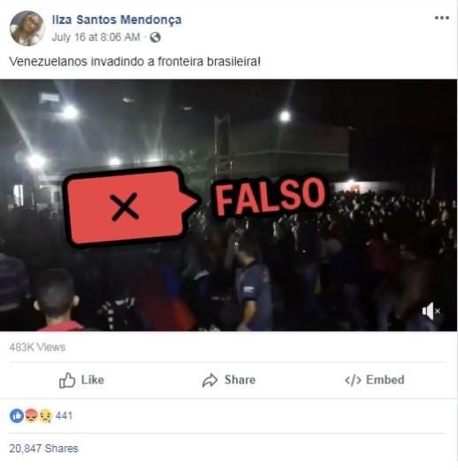"""Publicação falsa no Facebook diz que venezuelanos estão """"invadindo"""" fronteira com Brasil"""