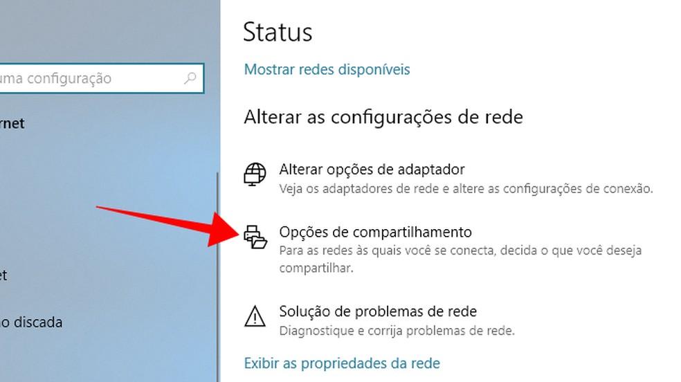 Acesse opções de compartilhamento do Windows  — Foto: Reprodução/Paulo Alves