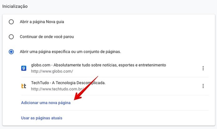 Alterando a página inicial do Chrome (Foto: Reprodução/Helito Bijora)