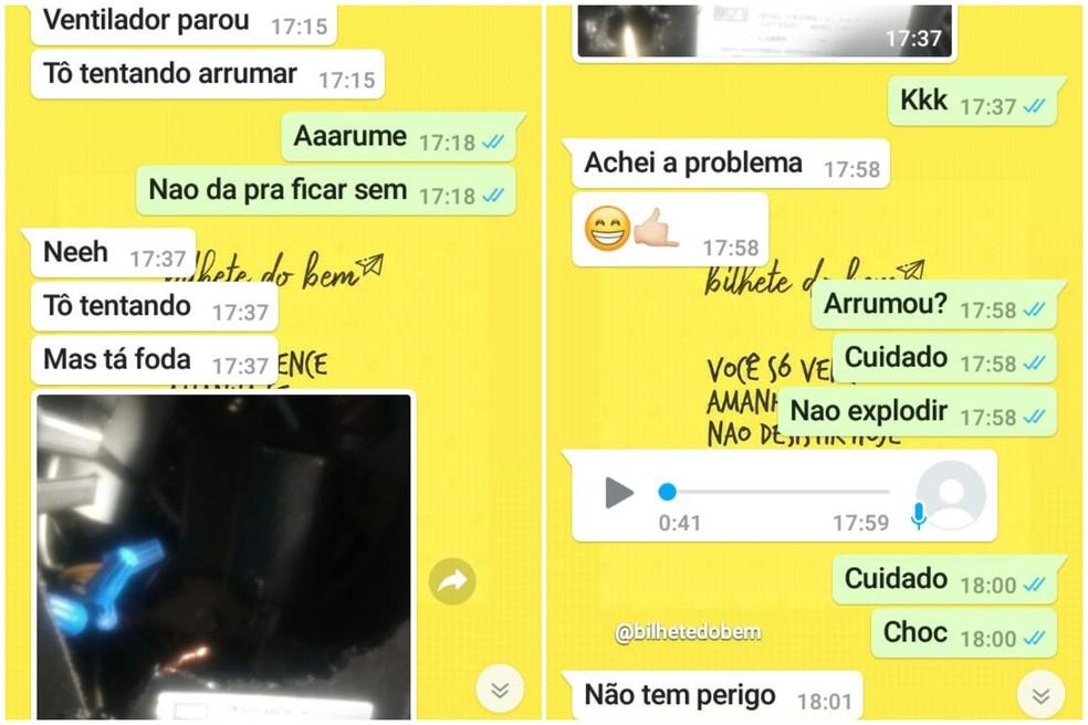 Prints mostram conversa entre estudante eletrocutado e namorada em aplicativo de mensagens — Foto: Arquivo Pessoal