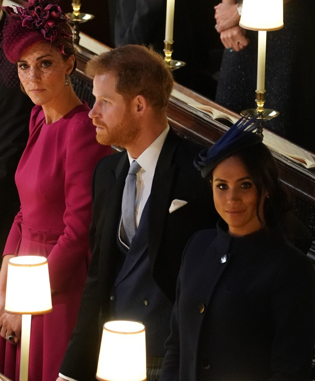 Kate Middleton, príincipe Harry e Meghan Markle (Foto: Getty Images)