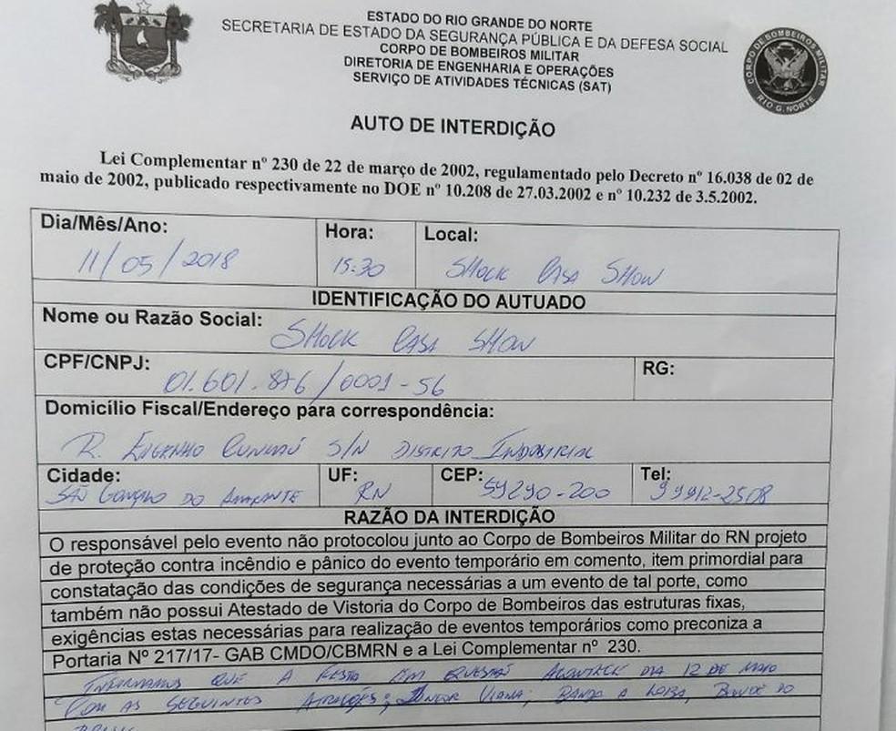Relatório do Corpo de Bombeiros do RN informava sobre irregularidades em festa que o governador mandou autorizar (Foto: Cedida)