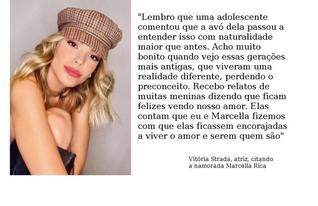 Vitória Strada, no ar em 'Salve-se quem puder', namora a atriz Marcella Rica (Foto: Reprodução)