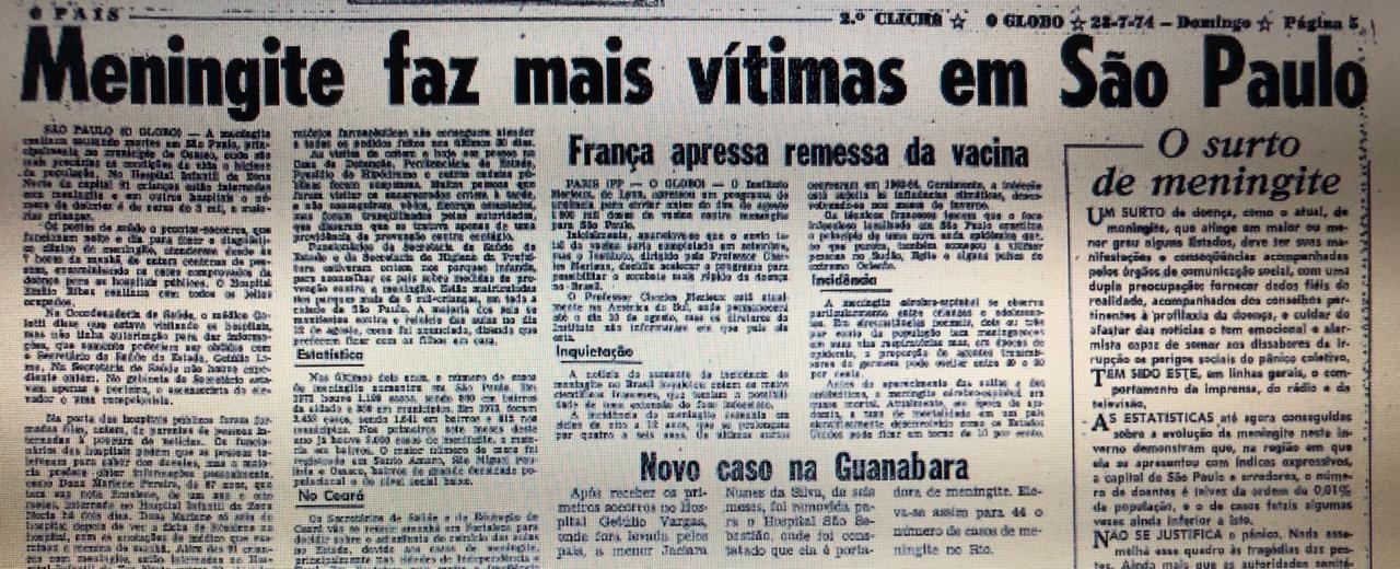 Página do GLOBO de 28 de julho de 1974