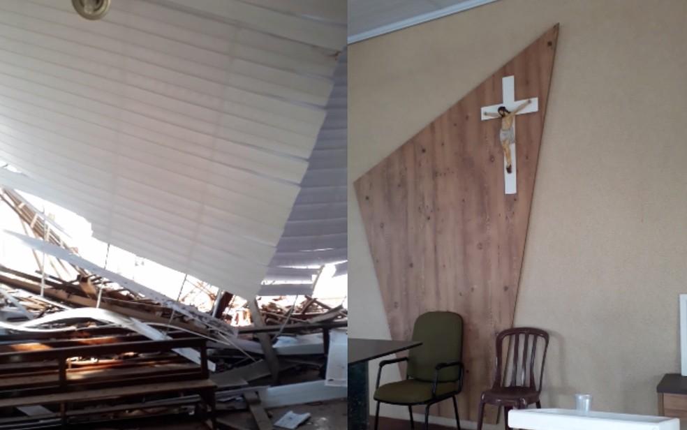 Foto mostra telhado sobre os bancos e altar intacto  — Foto: Arquivo pessoal/Marcos Ferreira