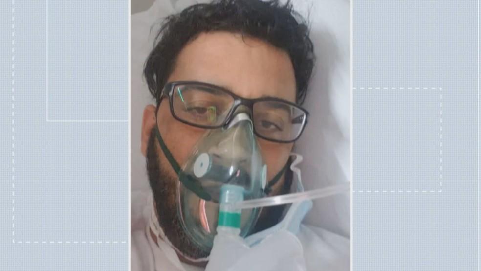 Fábio Gomes Batista, de 38 anos, está internado no Hospital Regional de Ceilândia, a espera por leito de UTI  — Foto: Arquivo pessoal