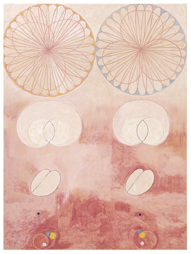 Grupp IV, nr 9. De tio största,Ålderdomen, 1907Tempera på papper uppfodradpå duk320 × 238 cmHAK110© Stiftelsen Hilma af Klints Verk  (Foto:  )