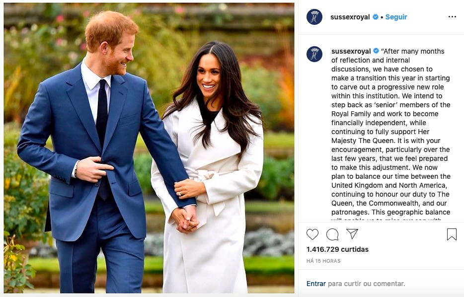 O post compartilhado na conta conjunta do Príncipe Harry e da duquesa Meghan Markle no Instagram, anunciando o afastamento do casal da Família Real Britânica (Foto: Instagram)