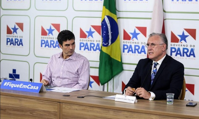 O governador do Pará, Helder Barbalho, e o secretário de Saúde do Estado, Alberto Beltrame