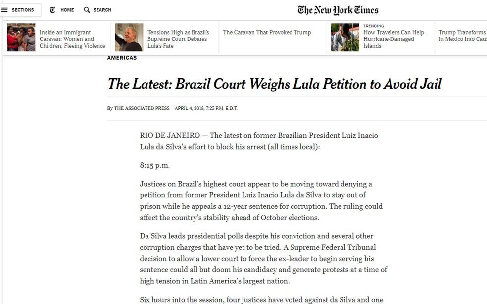Antes mesmo do fim da votação o 'NY Times' também acompanhava a questão do habeas corpus de Lula (Foto: Reprodução/NY Times)