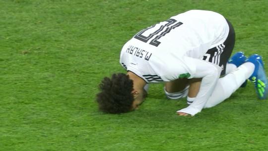 Estreia, gol e frustração: as reações de Salah na derrota do Egito para a Rússia