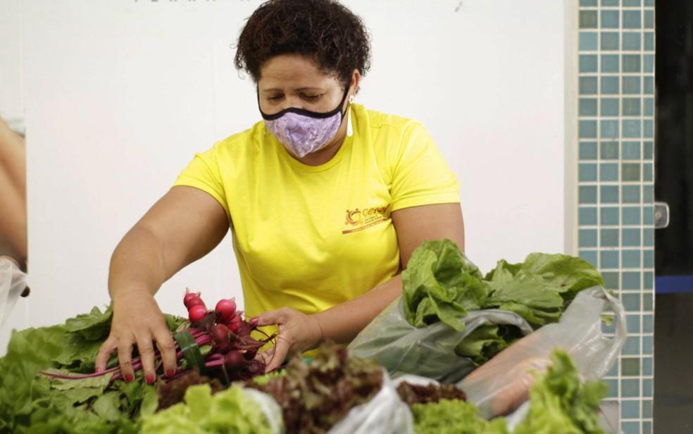 Com queda da demanda para costura de roupas juninas, baiana Analice da Paixão relata foco na agricultura familiar — Foto: Arquivo Pessoal