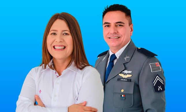 Sirlene, pré-candidata a prefeita de Itapirapuã Paulista, ao lado do pré-candidato a vice, Agulnaldo Cruz, do PSL