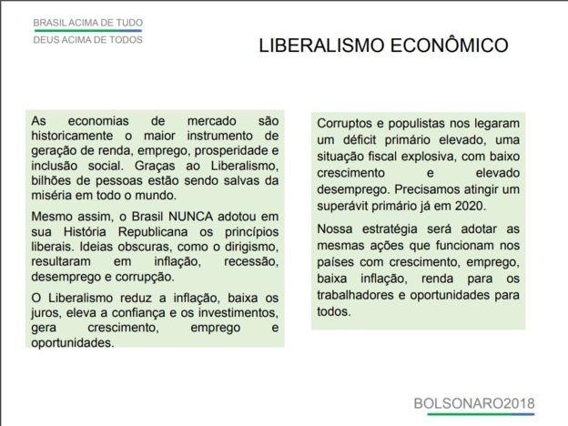 Plano de governo Bolsonaro em 2018 exaltava o liberalismo econômico (Foto: Reprodução/BBC)