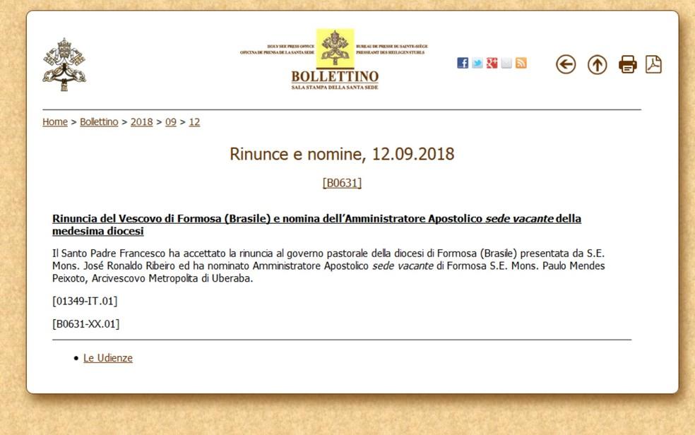 Renúncia de Dom José Ronaldo foi publicada pelo Vaticano — Foto: Reprodução/TV Anhanguera