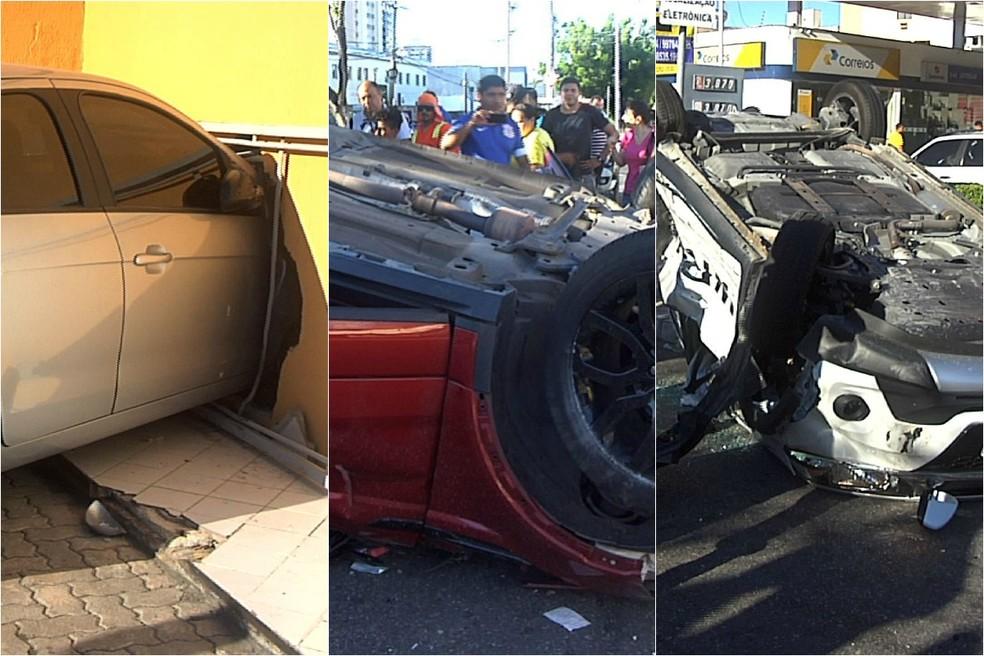 Dois carros capotaram em acidente em Fortaleza (Foto: TV Verdes Mares)