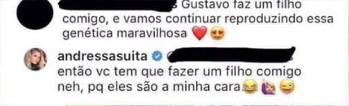 Andressa Suita rebate fã de Gusttavo Lima (Foto: Reprodução/Instagram)