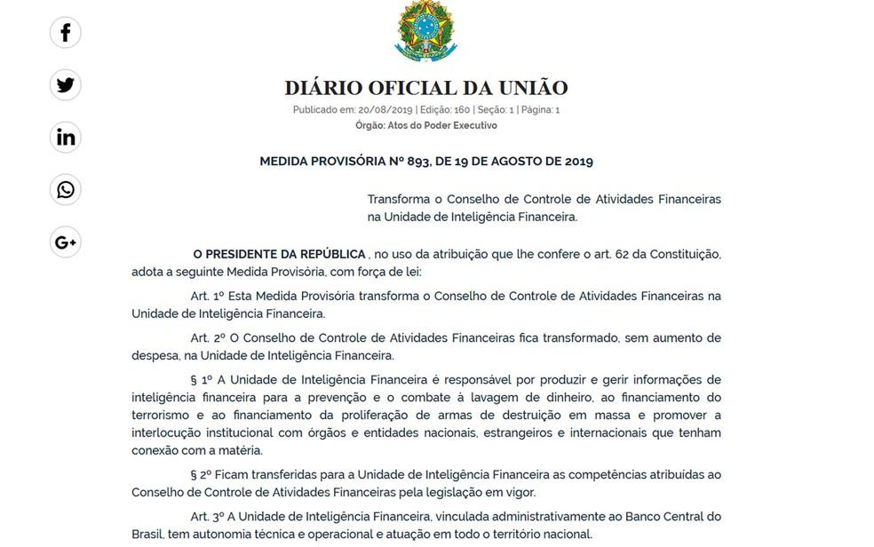 Diário Oficial da União publica MP que muda o nome do Coaf e o transfere para o Banco Central — Foto: Diário Oficial da União / Reprodução