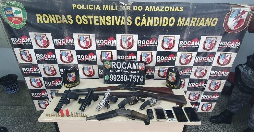 Após denúncia, seis são presos por porte e posse ilegal de arma de fogo, em Manaus