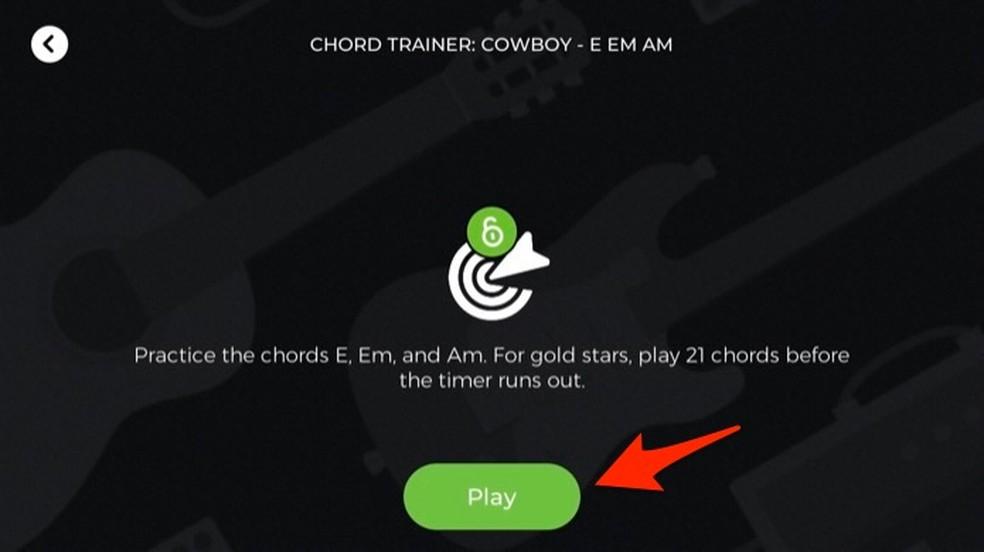 Ação para iniciar uma aula de acordes no aplicativo Yousician — Foto: Reprodução/Marvin Costa