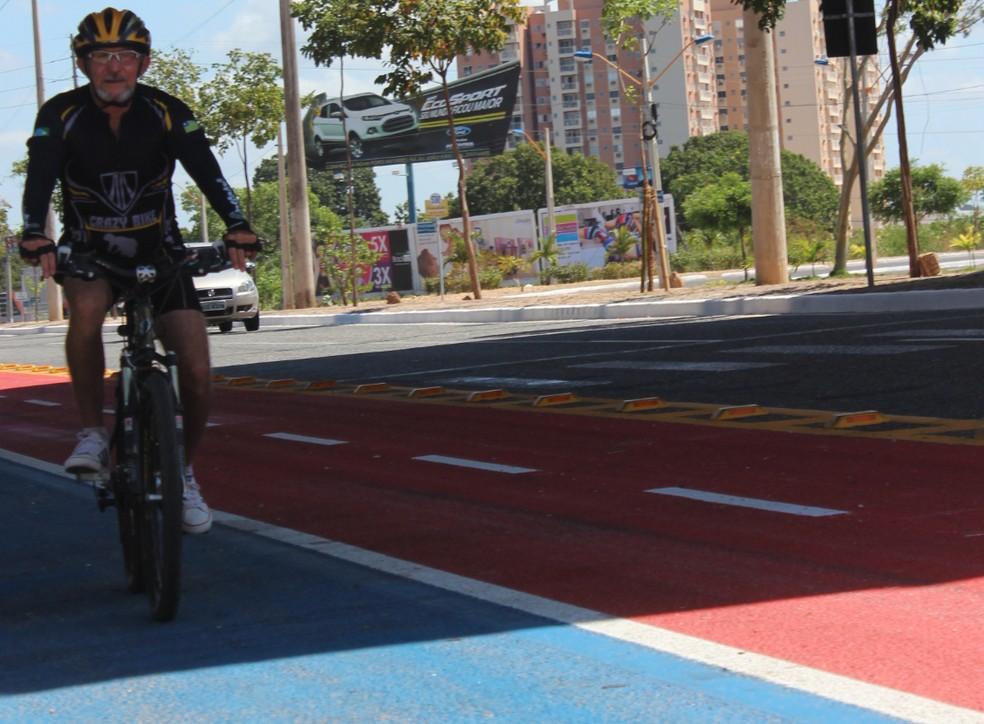 Ciclofaixa; avenida raul lopes; teresina; ciclismo — Foto: Náyra Macêdo/GLOBOESPORTE.COM